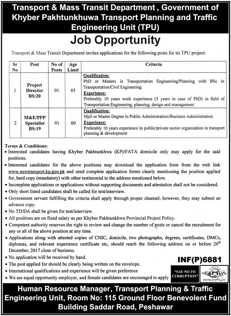 Transport And Mass Transit Department Jobs 2017 In Peshawar For Director And Specialist http://www.jobsfanda.com/transport-mass-transit-department-jobs-2017-peshawar-director-specialist/