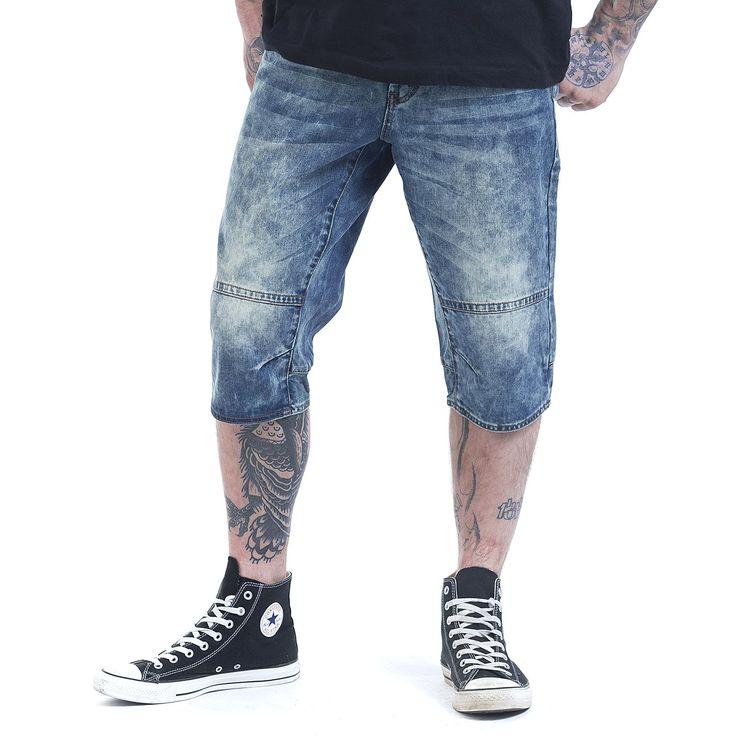 """#Pantaloncini uomo """"Denim Shorts"""" del brand Forplay con particolare lavaggio e cuciture decorative."""