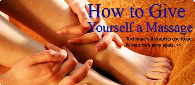 Feeling sore and achy? Discover four highly effective self massage moves that will bring you quick relief! These free massage techniques will help ease tight leg muscles, sooth sore forearms and so much more. - Shape.com