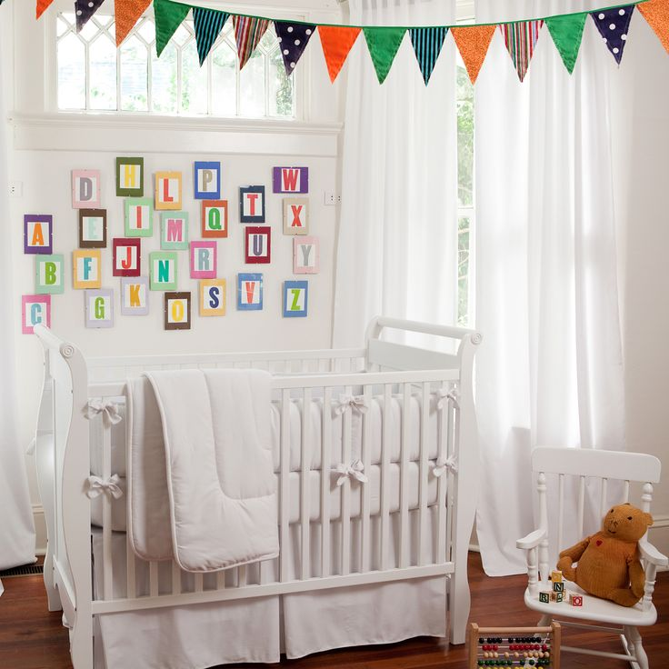 Solid White Neutral Crib Bedding Set by Carousel Designs.