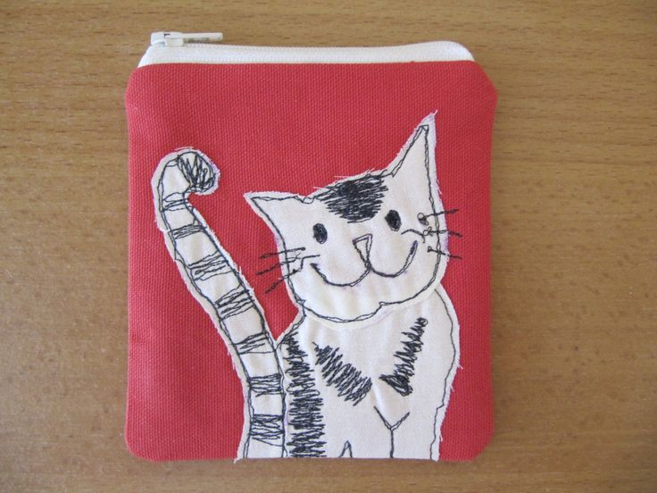 Cat Coin Purse, Free Motion Machine Embroidery, Small Makeup Bag, Kitty Coin or Makeup Bag, Cream Zip, Spot Lining by BobbyandMeSew on Etsy