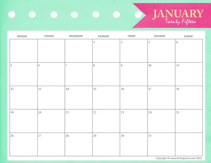Free printable month calendar. I am going to start using these I think to help keep Matt and I organized.