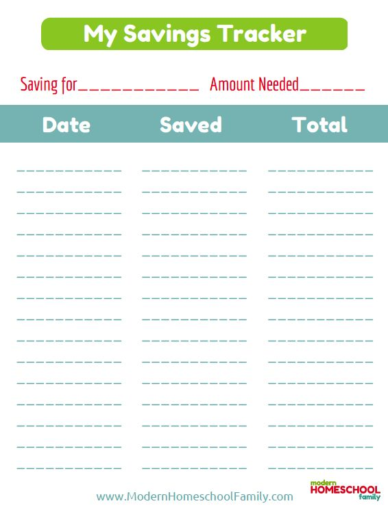 Free Printable Savings Tracker for Kids | This free ...