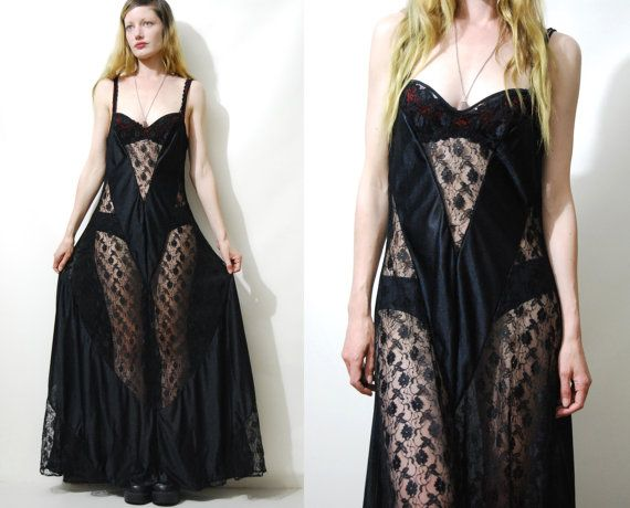 BLACK LACE Slip Dress Vintage Long Maxi SHEER 70s  by cruxandcrow