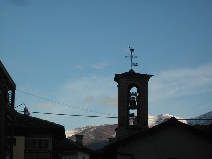 Old bell tower in a small mountain village
