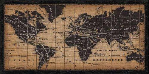 Pela-Studio-Old-World-Map-Fertig-Bild-50x100-Wandbild-Weltkarte-antik