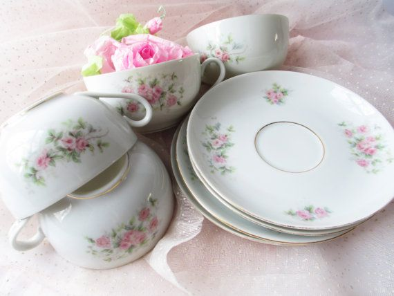 Teacups and Saucers Epiag Royal Pink Rose Set of by thechinagirl