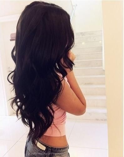 <3 long dark hair! Very seldom can I find long curly hair in black! This is the style I wanna grow my hair to! Don't give up!