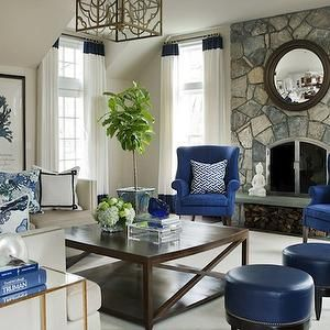 Sherrill Wing Back Chair Navy And White Fabric Blue