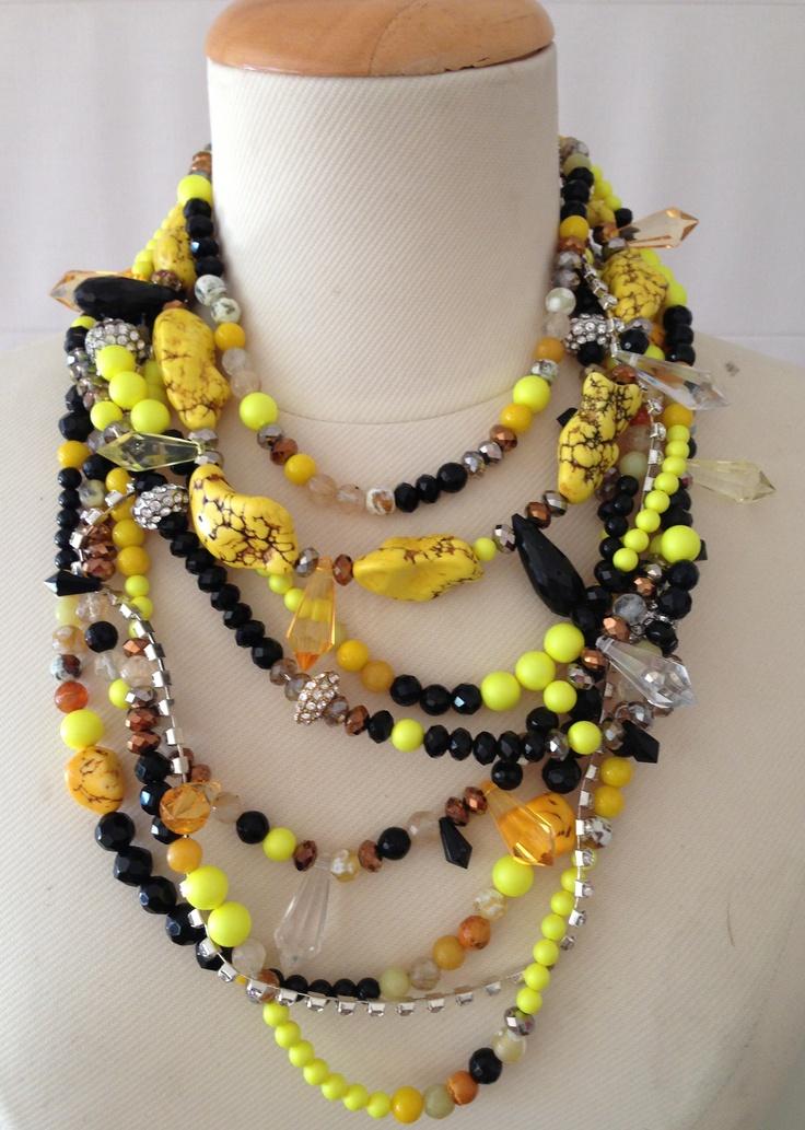 Swarovski yellow and black pearls