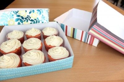 DIY Cupcake Delivery Box from card stock.