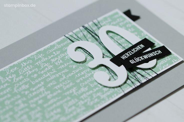 Geburtstagskarte zum 30. Geburtstag in der Stampin' Up! Farbe Minzmakrone