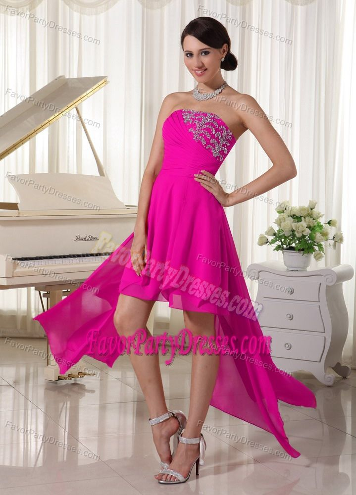 Hot Pink Strapless Beading Popular Evening Party Dress Made by Chiffon