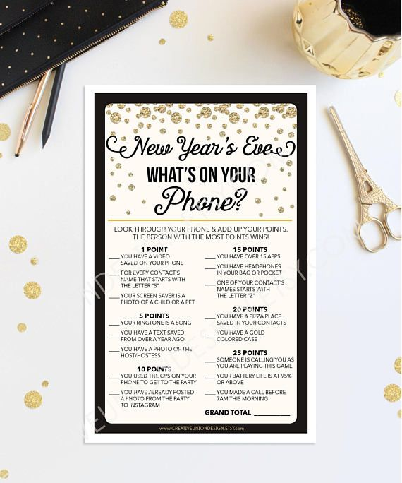 New Year's Eve Party - New Year's Eve Games - New Years Eve Ideas - New Years Eve Decorations - What's On Your Phone Game by CreativeUnionDesign.Etsy.com #newyearseve #newyear