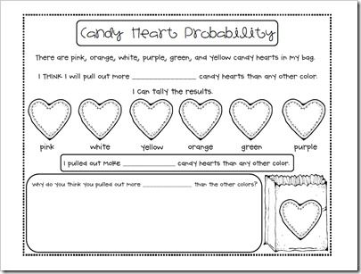 1st grade valentines candy heart math probability printout holiday lots o 39 love. Black Bedroom Furniture Sets. Home Design Ideas