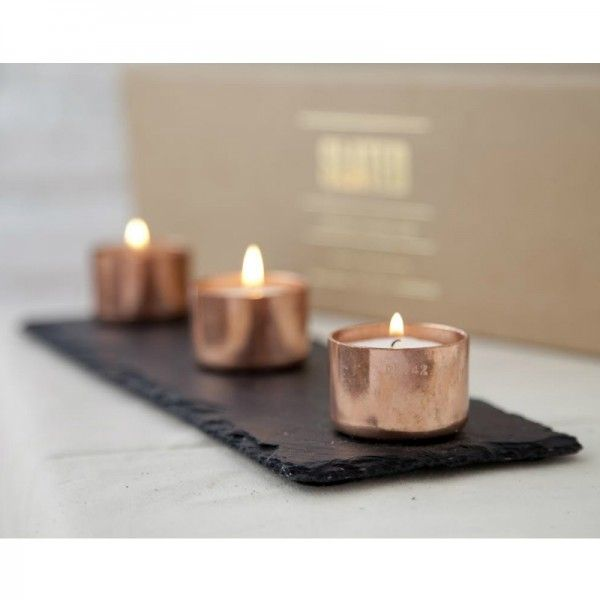 Copper And Slate Candle Holder Set