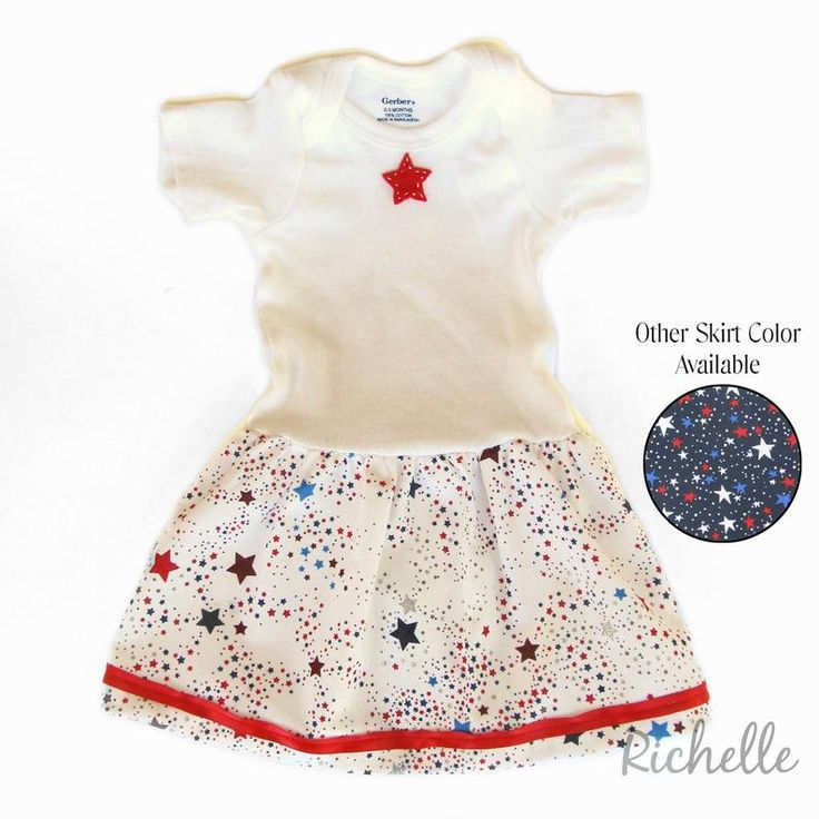 Baby Girl Fourth of July Dress, Independence Day Onsie, Red White Blue Patriotic Outfit, Newborn Infant Toddler, Size 0 3 6 9 12 months