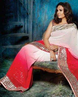 White Pink Shaded #Saree By Lara Dutta.