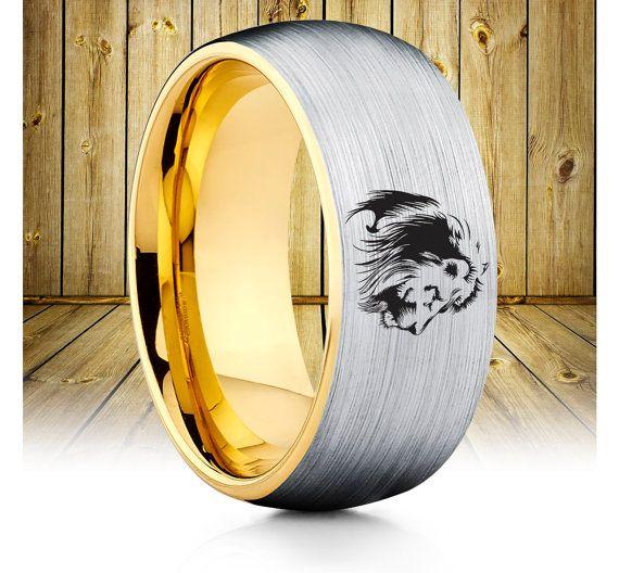 King Of Jungle Lion Tungsten Wedding Band,Lion Tungsten Wedding Ring,Lion…