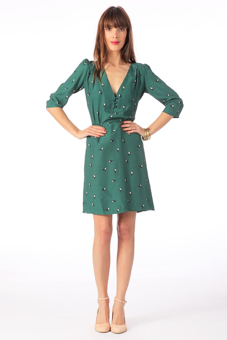 Robe en soie Beauvoir Vert Sessun sur MonShowroom.com