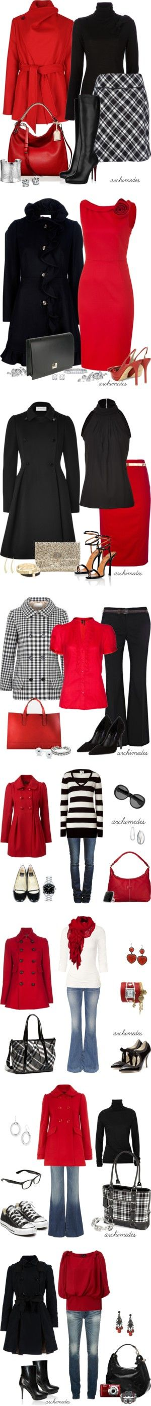 """Red and White and Black"" cute! love the black and white striped sweater outfit."