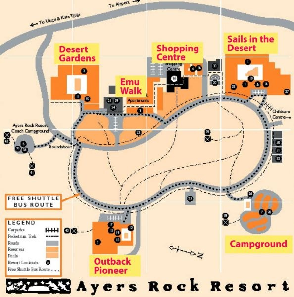 This map of the Ayers Rock Resort in the township of Yulara shows all the accommodation options available. There is lots of choice for your stay at the Uluru Heart Gathering - from camping or camp-ground cabins, through bunk hostel accommodation with a (huge) shared kitchen, apartments (great for sharing with a few others), hotels of various levels up to 4 stars. We have lots of advice on getting the best travel and accommodation deals when you come to the Uluru Heart Gathering.