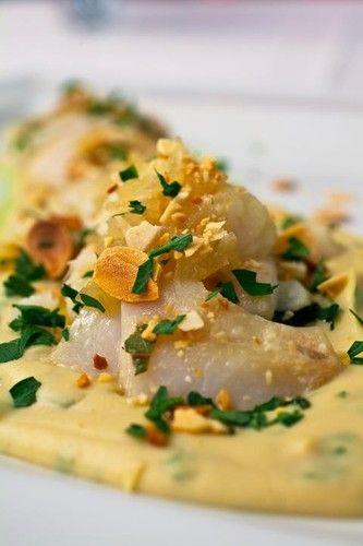 'Bacalhau lascado sobre puré de grão com grelos salteados e amêndoas torradas' - cod with mashed chickpeas, sprouts and roasted almonds. Simply divine! A recipe by portuguese chef Igor Martinho.