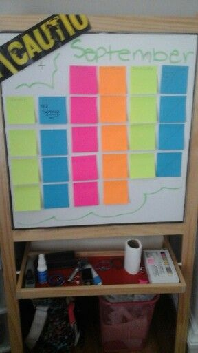 School hacks sticky note calender for when you make  a mistake you can peel the sticky of and replace  it with a new clean one + it add alot of color to your girls room