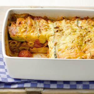 Pasta-ovenschotel met courgette