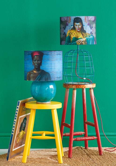 Team Tretchikoff lampshades with retro-inspired brightly coloured accessories.