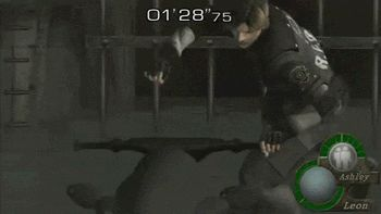 A glitch from Resident Evil (apparently) which reminds me irresistably of Harpo as Groucho's motorcycle chauffeur in Duck Soup.  Via 6 Accidentally Awesome Glitches in Famous Video Games | Cracked.com