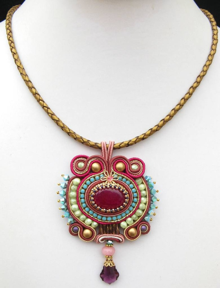 Pink and green Soutache pendant by MiriamShimon on Etsy