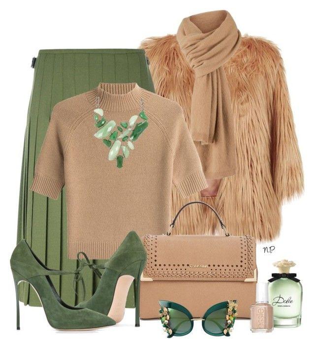 Green and Beige by nuria-pellisa-salvado on Polyvore featuring moda, Theory, Pinko, Le Kilt, Casadei, Calvin Klein, BCBGMAXAZRIA and Dolce&Gabbana