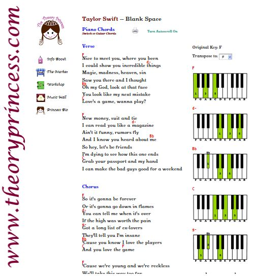 1000+ images about Taylor Swift - Piano & Guitar Chords on Pinterest