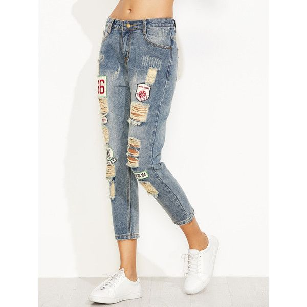 Blue Distressed Ripped Embroidered Patch Jeans ❤ liked on Polyvore featuring jeans, blue ripped jeans, white jeans, white destroyed jeans, white distressed jeans and distressing jeans