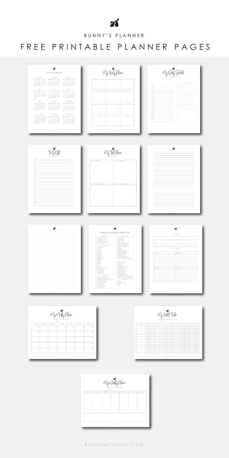 Printable Planner Pages Planner Printables Free Monthly Planner