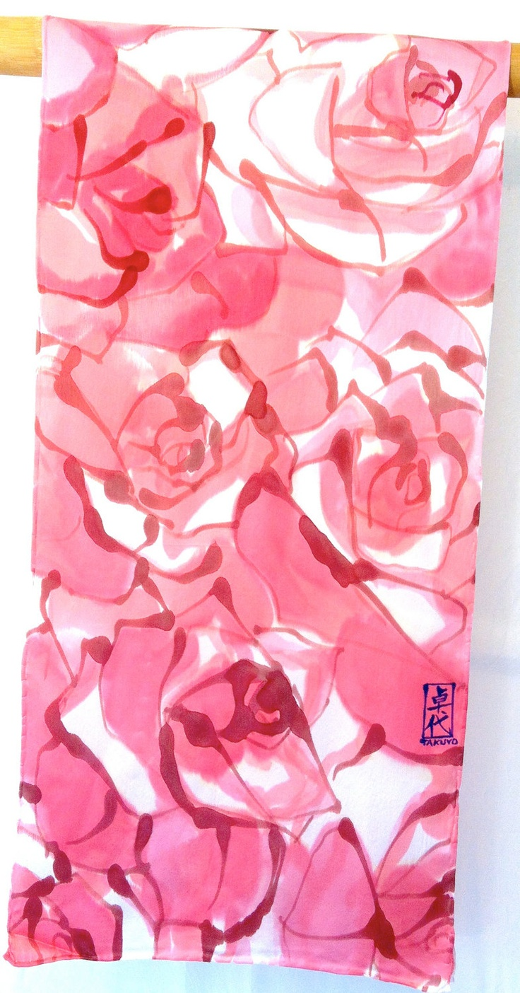 Silk Scarf Handmade, Hand Painted Silk Scarf Floral, Pink Ruby Roses. Silk Scarves Takuyo. Silk Charmeuse. Pink Silk Scarf. 15x60 in.. $148.00, via Etsy.