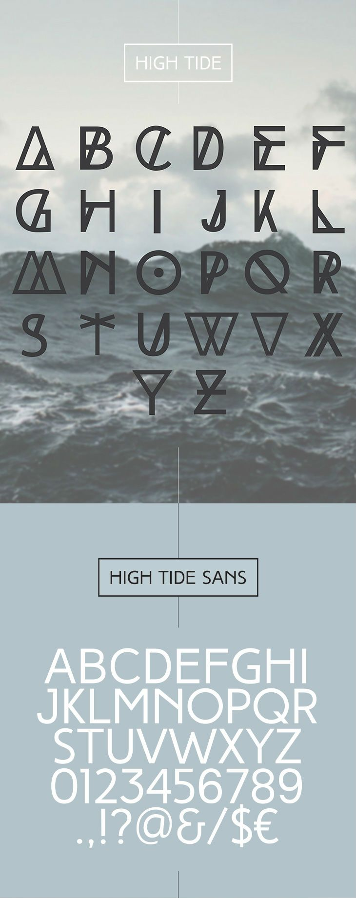 The 75 Best Free Fonts for 2014 - High Tide is an all-caps, decorative typeface designed to be most suitable for titles, headlines, posters, logos, etc.