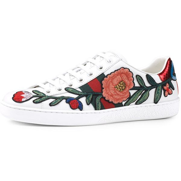Gucci New Ace Floral-Embroidered Low-Top Sneaker ($695) ❤ liked on Polyvore featuring shoes, sneakers, multi colors, leather sneakers, lace up sneakers, gucci trainers, multi color sneakers and low profile sneakers
