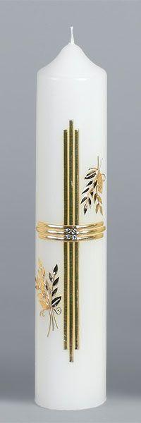 Liturgische Kerze, 804, 310x60, Wachskreuz, gold