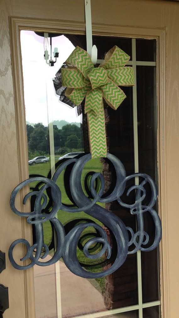 3 Letter Monogram Door Hanger by MySouthernDoorDecor on Etsy
