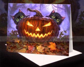 halloween greeting card small black cat on jack o by LizzyClara