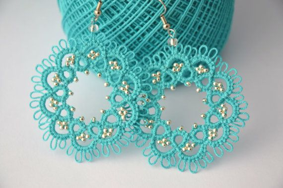 Tatting lace turquoise earrings and sterling silver beads. Made with the technique of needle tatting, the beads are inserted during processing are