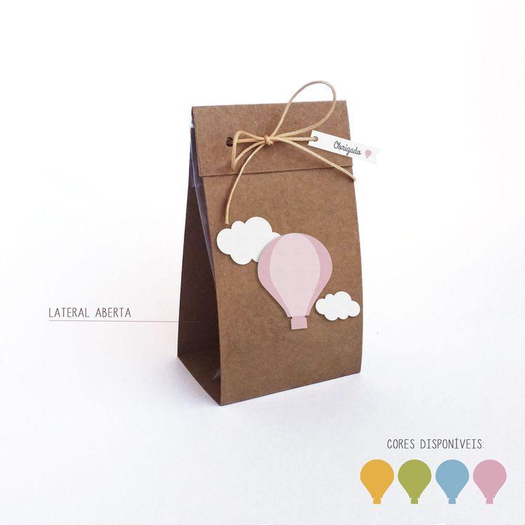 Caixinha para saquinho de guloseima - festa balão na lojadanuvem.com