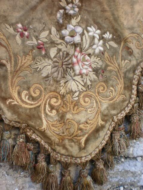 Gorgeous antique French Chateau silk and velvet portiere