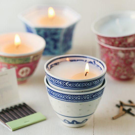 Teacup Votives. A cozy, simple DIY. Made with Asian teacups for a Boho-chic vibe.