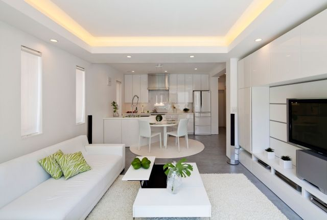 wohnzimmer küche weiß deckengestaltung versteckte leuchten | küche ... - Deckengestaltung Küche