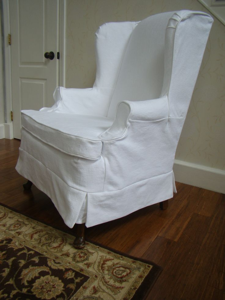 Slip Covered Wing Back Chair (Casual Chic Cottage)
