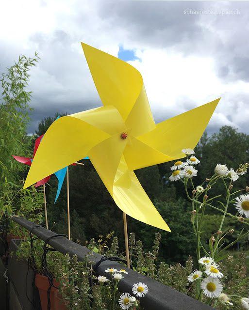 Lovely Ein buntes Windrad f r den Garten youtube DIY tutorial draussen schaeresteipapier