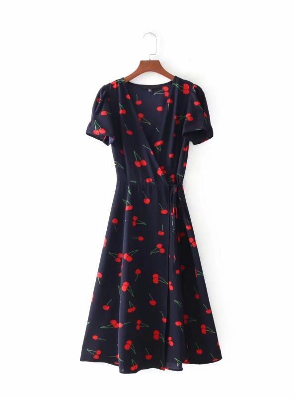 1d8229068b205 Short Sleeve Cross V Neck Tie Waist Wrap Dresses in 2019 | Hot Sale ...